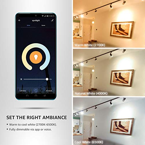 Lepro GU10 Smart LED Light Bulbs, Works with Alexa & Google Assistant, Tunable White Track Light Bulb, Dimmable with App Control, 50W Halogen Equivalent, No Hub Required, 2.4G WiFi Only (2 Pack)