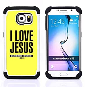 GIFT CHOICE / Defensor Cubierta de protección completa Flexible TPU Silicona + Duro PC Estuche protector Cáscara Funda Caso / Combo Case for Samsung Galaxy S6 SM-G920 // BIBLE I Love Jesus - John 4:19 //