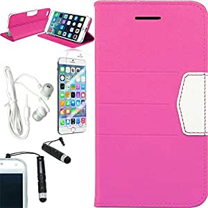 [STOP&ACCESSORIZE] PINK WHITE WALLET POUCH COVER DUO LEATHER FLIP CASE for APPLE IPHONE 6 PLUS + FREE ACCESSORY KIT
