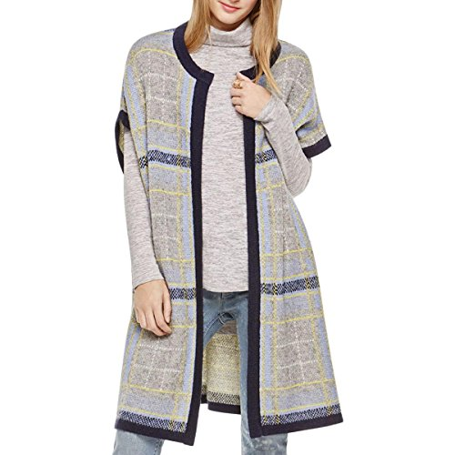Mohair Blend Sweater (TWO by Vince Camuto Women's Mohair Blend Jacquard Plaid Sweater Coat Black Orchid Sweater XS (US 2))