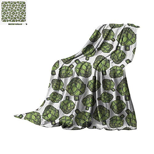Artichoke Digital Printing Blanket Detailed Drawing of Super Foods Fresh Vitamin Sources Natural Nutrition Source Oversized Travel Throw Cover Blanket 80