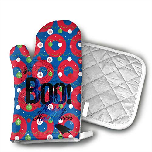 KUGUANG Boo Happy Halloween Free Printable Oven Mitts, Non-Slip Silicone Oven Mitts, Extra Long Kitchen Mitts, Heat Resistant to 500Fahrenheit Degrees Kitchen Oven Gloves ()