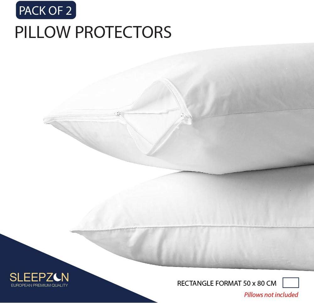 Mollettone al 100/% Cotone Bi-ome Proteggi Cuscino Impermeabile SLEEPZEN  Federe per Cuscini Impermeabili 40x70 cm sotto Federa per Cuscino Set da 2 Copricuscini Impermeabili