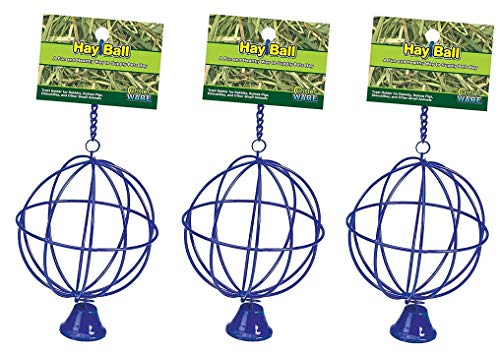 Ware Manufacturing 3 Pack of Hay Balls with Bells Small Pet Toys, Assorted ()