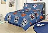 Full 3 Piece Bedding Comforter Set, Sports Football Basketball Soccer Baseball