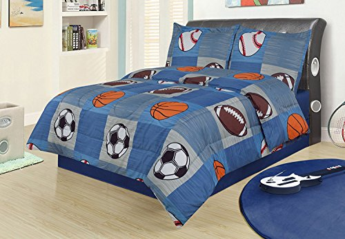 Twin 2 Piece Bedding Comforter Set, Sports Football Basketball Soccer Baseball