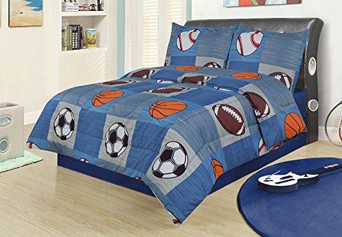 Full 3 Piece Bedding Comforter Set, Sports Football Basketball Soccer Baseball by HowPlumb