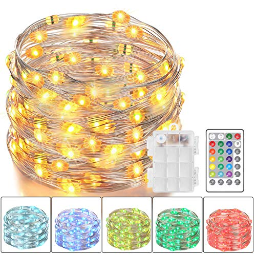 Asmader LED Fairy Lights, Battery Powered Multi Color Changing String Lights with Remote Control Waterproof Decorative Silver Wire Lights 16ft 50LEDs for Bedroom,Patio,Indoor,Party,Garden,16 Colors]()