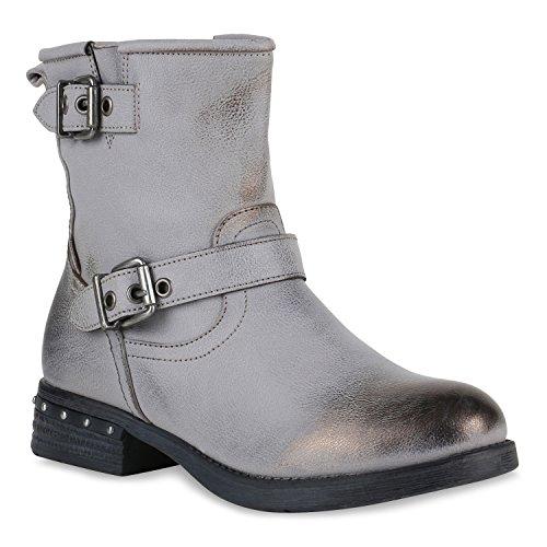 Stiefelparadies Damen Biker Boots Nieten Stiefeletten Metallic Leicht Gefüttert Flandell Taupe Nieten