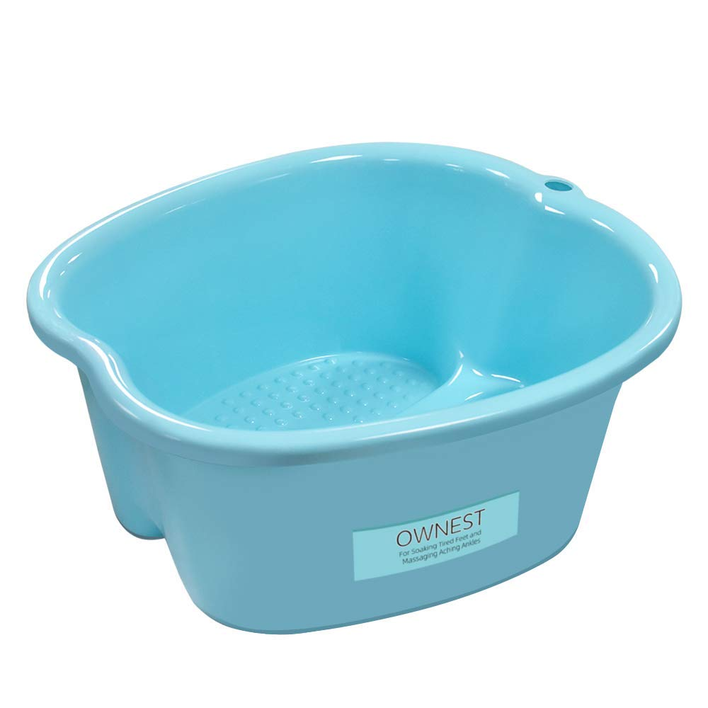 Ownest Foot Bath Spa,Water Spa and Foot Massage, Sturdy Plastic Foot Basin for Soaking Foot,Toe Nails, and Ankles,Pedicure,Portable Foot Tub-Blue