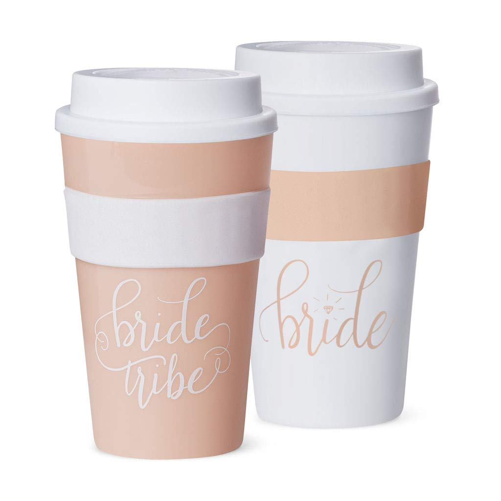 Hot & Cold Coffee Tumblers - Bachelorette Bridal Party & Wedding Shower Drink Glasses, Favors, Supplies + Accessories to Celebrate Bride-to-Be (Set of 11, Bride Tribe - Pink Blush)