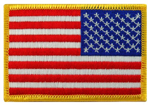 - American Flag Embroidered Patch Reverse Gold Border United States Iron-On Emblem