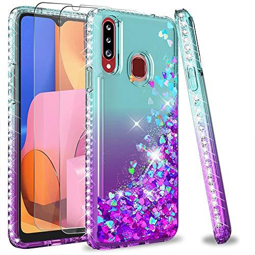 Funda para Galaxy A20S y dos vidrios templados (glitter)