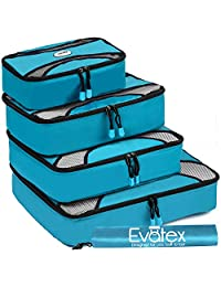 Evatex Packing Cubes | Travel Packing Cubes, 6pc Set with Shoe Bag |Laundry Bag (Marine Blue)