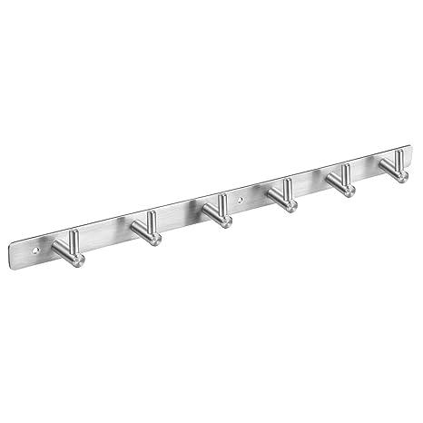 Home Improvement Bathroom Hardware Multi Functional Stainless Steel Wall Mounted Hook Rack Hook Rail Coat Rack 6 Hooks Home Storage Organization Bedroom Bathroom