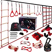 Two Ways 2*42ft Ninja Warrior Obstacle Course for Kids Or Adult with 9 Accessories | Switch Between Slackline