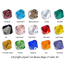 LK-CRAFTS Wholesale Lot 1500pcs Bicone ( ~ Swarovski cut #5328) 4mm Crystal Beads 15 colors with storage box. #1