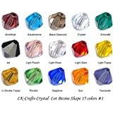 LK-CRAFTS Wholesale Lot 750pcs Bicone (similar cut #5328/ 5301) 6mm Crystal Beads 15 colors with storage box #1