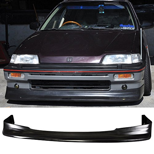 Front Bumper Lip Fits 1988-1991 Honda Civic | Spoiler Zenki Z Style Black Poly Urethane Air Dam Chin Diffuser by IKON MOTORSPORTS | 1989 1990