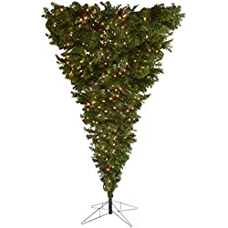 Gerson - 7.5 Foot Pre-Lit Upside Down Artificial Christmas Tree - 600 Clear Lights - 1603 Tips