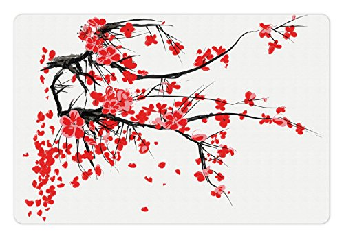 Blossom Seals (Floral Pet Mats for Food and Water by Ambesonne, Japanese Cherry Blossom Sakura Blooms Branch Spring Inspirations Print, Rectangle Non-Slip Rubber Mat for Dogs and Cats, Red Seal Brown White)