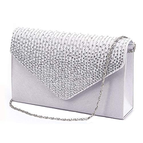 Womens Hand Style Clutch Clutch Prom Bag Purse Bag Diamante Evening Tskybag Silver Handbag Envelope Ladies Party Bradal Aw7dqxxgU4