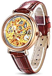Time100 Women's Skeleton Apparent Space Genuine Leather Strap Mechanical Watch #W60026L.02A