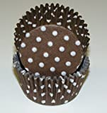 Brown White Polka Dot Cupcake Liners Baking Cups Standard Size 50 count