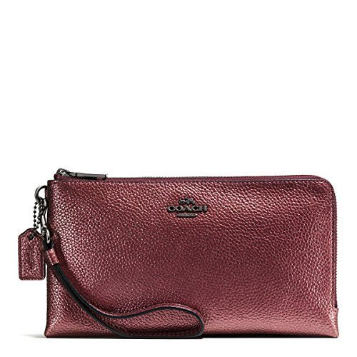 COACH Women's Metallic Pebble Leather Double Zip Wallet Qb/Metallic Cherry Clutch (Metallic Cherry)