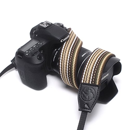 Camera Straps Colorful Knitted Grosgrain Adjustable Multi- Striped Camera Neck Strap for Canon Fuji Nikon Olympus Panasonic Pentax Sony Cameras Type A