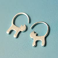 Julie's Jewelry Small fresh S925 silver star who meow cat tail drawing hypoallergenic Earrings
