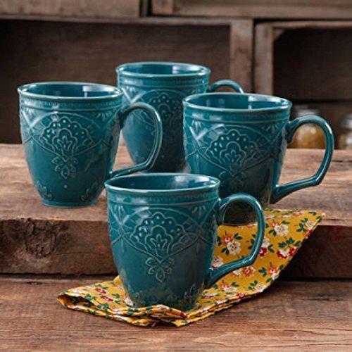 Rustic Stoneware Mug - The Pioneer Woman Farmhouse Lace Mug Set,OCEAN TEAL 4-Pack | Antique Finish Durable Stoneware Lace Mug Set, 4-Pack - OCEAN TEAL