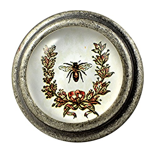 Bee Knob (Charleston Knob Company Vintage Pewter Knob, Set of 2, Bumblebee Design)