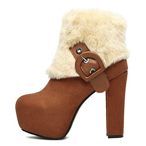escarchadas de Heels Cuello Marrón Plataforma piel AdeeSu Ladies Botas Chunky CqO7wn8P