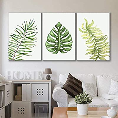 3 Panel Canvas Wall Art - Watercolor Style Tropical Leaves - Giclee Print Gallery Wrap Modern Home Art Ready to Hang - 16