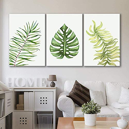 wall26 3 Panel Canvas Wall Art - Watercolor Style Tropical Leaves - Giclee Print Gallery Wrap Modern Home Decor Ready to Hang - 16