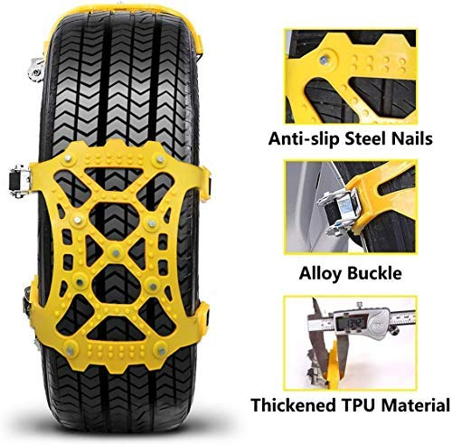 Tire Width 165-285mm//6.5-11.2 6Pcs Emergency Anti Slip Tire Traction Chains Upgraded TPU Snow Chain for Light Truck//SUV//ATV Winter Universal Tire Security Chains Vodche Car Snow Chains