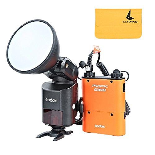 Elinchrom Cable Remote - Godox Witstro AD360II-C TTL 360W GN80 Powerful Speedlite Flash Light + 4500mAh PB960 Lithium Battery for Canon EOS Camera (Orange)