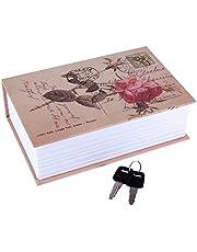 Diversion Book Safe, Dictionary Secret Cash Safe Box Bible Safe Storage Box with Security Key Diversion Book Hidden Safe(Rose Diary Type)