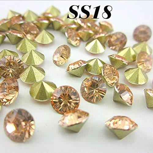 Calvas Champagne SS18 4.2-4.4mm (3G)432pcs Resin Rhinestones Pointback,Resin Stones for DIY Decoration ()
