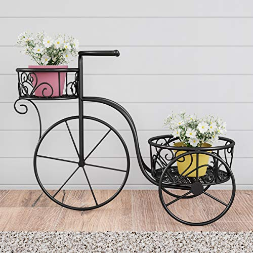 Pure Garden 50-LG1153 Tricycle Plant Stand - 2-Tiered Indoor or Outdoor Decorative Vintage-Look Metal Display for Patio, Deck, Home or Lawn (Black) (Tricycle Plant Stand)
