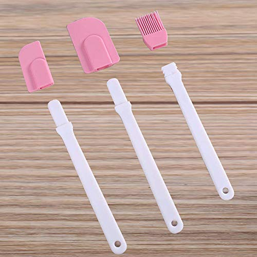 Pink Pastry Brush with Cooking Brush Scraper Silicone Baking Accessory 3 Pcs Set Silicone Baking Cooking Tool Spatula and Pastry Brush for Cake Cream Gadget