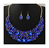 Nataliya Short Collar Crystal Statement Jewelry Set (Blue Crystal Collar Earrings Necklace)