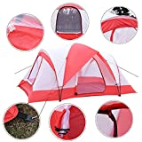 10 Person Outdoor Waterproof Hiking Camping Tent Double Layer with Zipper Closure Red & White for Backpack and Outdoor Activity
