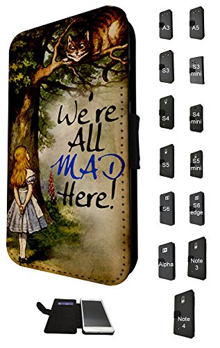 657 - Alice in wonderland Cheshire cat We all Mad Here Design Fashion Trend Credit Card Holder Purse Wallet Book Style Tpu Leather Flip Pouch Case Samsung Galaxy Note 4
