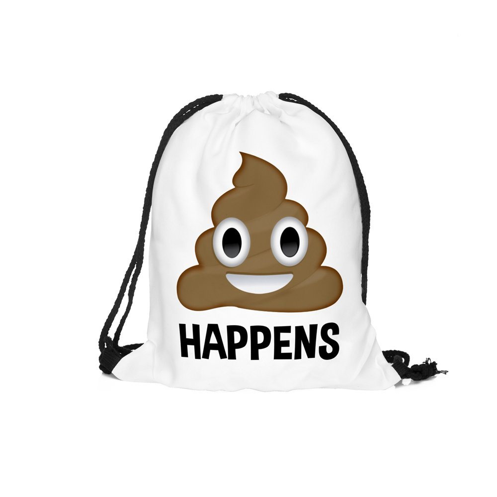 "cheap 3d Print Drawstring Backpack Emoji Funny Series Shoulder Bags Gym Bags for Kids 15""x11"""