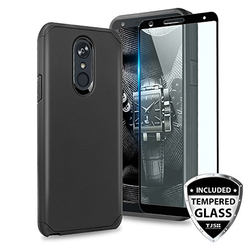 TJS LG Stylo 4 2018/LG Stylo 4 Plus/LG Q Stylus/LG Q Stylus Plus/LG Q Stylus Alpha Phone Case, [Full Coverage Tempered Glass Screen Protector] Dual Layer Hybrid Shockproof Armor Cover (Black)