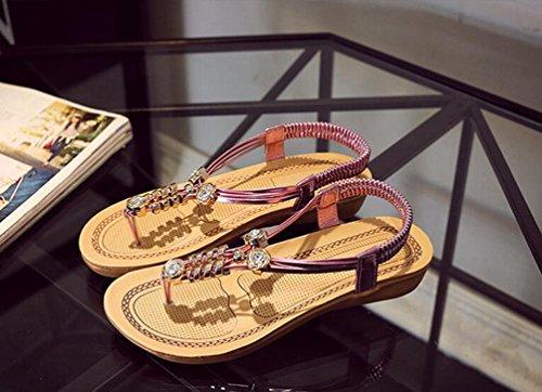 Yiiquan Mujer Sandalias Verano Bohemia Clip Dedo Del Pie Sandalias Con Cuentas Zapatos de Playa Rosado
