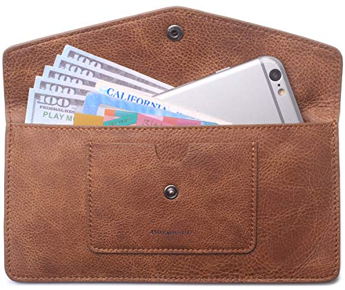 (Borgasets Women's Wallet Leather RFID Blocking Ultra-thin Envelope Ladies Purse Travel Clutch with ID Card Holder and Phone Pocket Vintage Brown)