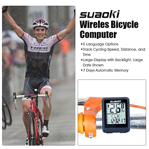 Suaoki Wireless Bike Computer Bicycle Speedometer Bike Odometer with LCD Backlight, 5 Language Displays, Auto Power On/Off Systems, Multi Function for Cycling by SUAOKI (Image #5)